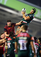 Graham Kitchener of Leicester Tigers wins the ball at a lineout. European Rugby Champions Cup match, between Leicester Tigers and Munster Rugby on December 17, 2017 at Welford Road in Leicester, England. Photo by: Patrick Khachfe / JMP