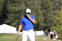 Lucas Bjerregaard (DEN) misses his birdie putt on the 17th green during Sunday's Final Round 4 of the 2018 Omega European Masters, held at the Golf Club Crans-Sur-Sierre, Crans Montana, Switzerland. 9th September 2018.<br /> Picture: Eoin Clarke | Golffile<br /> <br /> <br /> All photos usage must carry mandatory copyright credit (&copy; Golffile | Eoin Clarke)