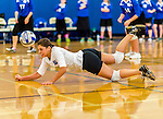 18 October 2015: Yeshiva University Maccabee Libero Shaina Hourizadeh, a Junior from Englewood, NJ, digs during game action against the Sage College Gators, at the Peter Sharp Center, College of Mount Saint Vincent, in Riverdale, NY. The Gators defeated the Maccabees 3-0 in the NCAA Division III Women's Volleyball Skyline matchup. Mandatory Credit: Ed Wolfstein Photo *** RAW (NEF) Image File Available ***