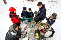 .Troop 17 from Short Hill, NJ participating in it Freeze-O-Ree weekend. The scouts ventured into the forest with.only a few basic supplies and must construct shelters using only the natural elements around them...Photo by: PatrickSchneiderPhoto.com