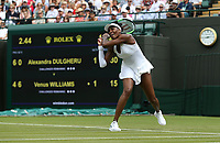 Venus Williams (USA) during her match against Alexandra Dulgheru (ROU)<br /> <br /> Photographer Rob Newell/CameraSport<br /> <br /> Wimbledon Lawn Tennis Championships - Day 3 - Wednesday 4th July 2018 -  All England Lawn Tennis and Croquet Club - Wimbledon - London - England<br /> <br /> World Copyright &not;&copy; 2017 CameraSport. All rights reserved. 43 Linden Ave. Countesthorpe. Leicester. England. LE8 5PG - Tel: +44 (0) 116 277 4147 - admin@camerasport.com - www.camerasport.com