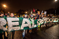 London 21-23/11/2014. First day of &quot;Return to Parliament Square&quot; at the Occupy Democracy Camp in London. This evening, protesters gathered in Parliament Square to have a 3-day-long re-occupation of the iconic London's landmark to &quot;Learn, Discuss, Participate&quot;. However, the famous grass outside the Houses of Parliament was patrolled by heavy police presence, supported by their dog's unit, ...<br /> <br /> For more pictures on this event click here: &lt;a href= &quot; http://bit.ly/1y7jrs2&quot;&gt; http://bit.ly/1y7jrs2&lt;/a&gt;