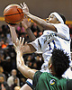 Shane Gatling #11 of Baldwin looks to drive to the hoop during the Nassau County varsity boys basketball Class AA final against Westbury at LIU Post on Saturday, Feb. 27, 2016. He scored 25 points in the flirst half. Baldwin went to halftime leading 35-18.