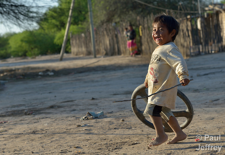 Two-year old Felipe Fares, a Wichi indigenous boy in Santa Victoria Este, Argentina. The Wichi in this area have struggled for decades to recover land that has been systematically stolen from them by cattleraisers and large agricultural plantations.
