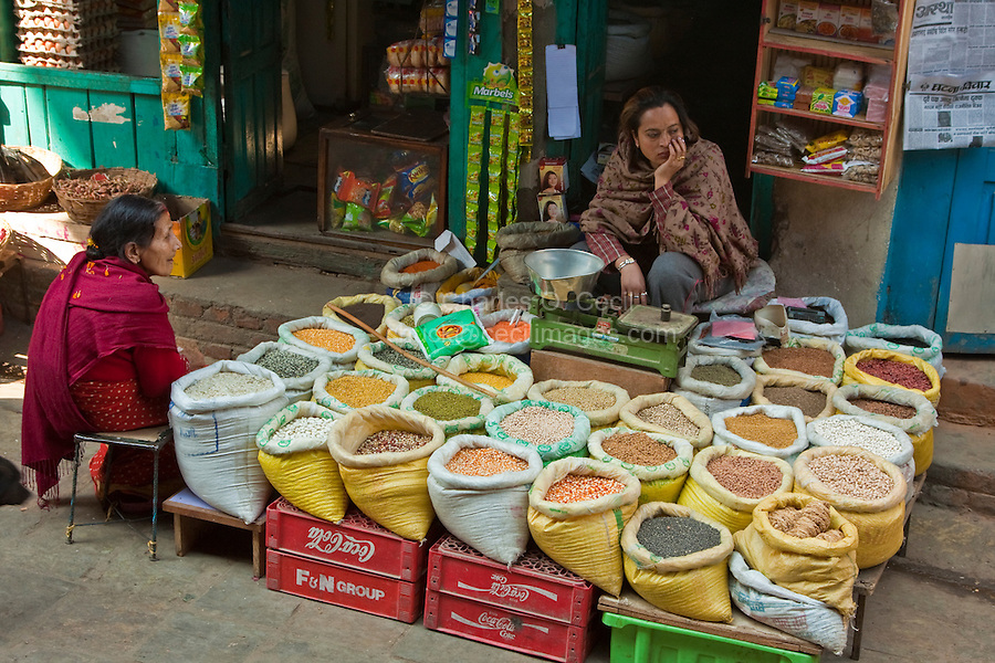 Kathmandu, Nepal.  Market Vendor of Rice, Beans and Grains, Durbar Square.