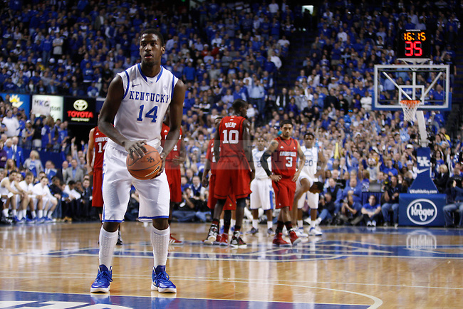 UK's Michael Kidd-Gilchrist shoots free-throws after a technical foul was call on UofL at Rupp Arena on Saturday, Dec. 31, 2011. Photo by Scott Hannigan | Staff