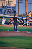 1B Umpire Casey James handles the calls on the bases during the game between the Ogden Raptors and the Grand Junction Rockies at Lindquist Field on September 9, 2019 in Ogden, Utah. (Stephen Smith/Four Seam Images)