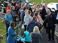 Pictured: Prince Charles greets people after visiting the Memorial Garden Friday 21 October 2016<br />