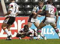 Twickenham, ENGLAND, Bull's, Marcus Bai, touch's down,during the  'Engage Super league'  between Harlequins RL vs Bradford Bulls, at the Stoop, 13.05.2006. © Peter Spurrier/Intersport-images.com,  / Mobile +44 [0] 7973 819 551 / email images@intersport-images.com.