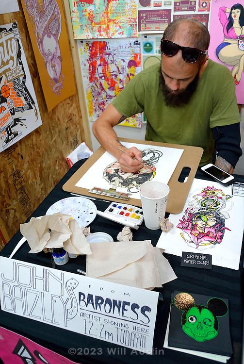 John Baizley drawing at Flatstock, Bumbershoot 2013 in Seattle, WA USA