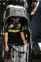 Feb 23, 2014; Chandler, AZ, USA; NHRA top fuel dragster driver Richie Crampton during the Carquest Auto Parts Nationals at Wild Horse Motorsports Park. Mandatory Credit: Mark J. Rebilas-USA TODAY Sports