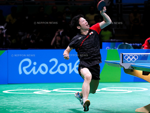 Jun Mizutani (JPN), <br /> AUGUST 9, 2016 - Table Tennis : <br /> Men's Singles Quarter-finals <br /> at Riocentro - Pavilion 3 <br /> during the Rio 2016 Olympic Games in Rio de Janeiro, Brazil. <br /> (Photo by Sho Tamura/AFLO SPORT)