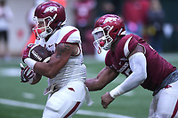 NWA Democrat-Gazette/J.T. WAMPLER Arkansas running back Devwah Whaley tries to make yardage Saturday April 29, 2017 during a red-white scrimmage. The scheduled practice was closed to the general public and moved indoors because of thunderstorms.