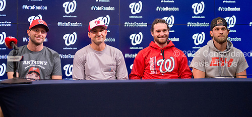 Four of the five All-Star Washington Nationals players pose for a group photo prior to the game against the New York Mets at Nationals Park in Washington, D.C. on Monday, July 3, 2017. From left to right: pitcher Max Scherzer, first baseman Ryan Zimmerman, second baseman Daniel Murphy, and right fielder Bryce Harper.  Pitcher Stephen Strasburg did not participate because he will be the starting pitcher this evening.<br /> Credit: Ron Sachs / CNP<br /> (RESTRICTION: NO New York or New Jersey Newspapers or newspapers within a 75 mile radius of New York City)