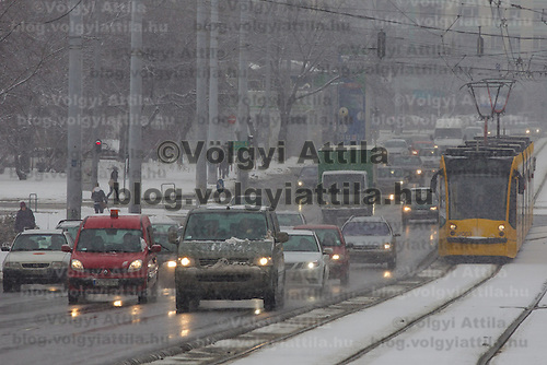 Winter traffic in Budapest, Hungary on February 17, 2012. ATTILA VOLGYI