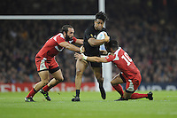 Julian Savea of New Zealand forces his way through Lasha Malaguradze of Georgia during Match 23 of the Rugby World Cup 2015 between New Zealand and Georgia - 02/10/2015 - Millennium Stadium, Cardiff<br /> Mandatory Credit: Rob Munro/Stewart Communications