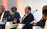 Egyptian President Abdel Fattah al-Sisi attends the opening session of the Africa 2017 Forum in the Red Sea resort of Sharm el-Sheikh on December 8, 2017. The Africa 2017 Forum brings together political and business leaders from across the continent to the south Sinai peninsula resort. Photo by Egyptian President Office