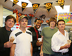 Frank Dicopoulos - Daniel Cosgrove - Lawrence Saint-Victor - Zack Conroy - Kurt McKinney - Guiding Light's actors and Stacy Jo Palas (President and CEO) of Stacy Jo's Ice Cream in McKees Rocks, PA on September 30, 2009. During the weekend of events proceeds from pink ribbon bagel sales at various Panera Bread locations will benefit the Young Women's Breast Cancer Awareness Foundation. (Photo by Sue Coflin/Max Photos)