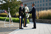 United States President Barack Obama participates in a wreath laying ceremony at the Pentagon in remembrance of the 12th anniversary of the 9/11 terrorist attacks, at the Pentagon on September 11, 2013 in Arlington, Virginia. <br /> Credit: Kevin Dietsch / Pool via CNP