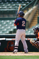 GCL Red Sox first baseman Rafael Oliveras (2) at bat during a game against the GCL Orioles on August 16, 2016 at the Ed Smith Stadium in Sarasota, Florida.  GCL Red Sox defeated GCL Orioles 2-0.  (Mike Janes/Four Seam Images)