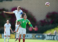 USA's Shannon Boxx goes over Mexico's Maribel Dominguez for a headball. .USA 3-0 over Mexico in San Diego, California, Sunday, March 28, 2010.