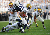 21 November 2015:  Penn State CB Trevor Williams (10) dives for Michigan CB/KR Jourdan Lewis (26) during Lewis's long return to thwart Penn State momentum. The Michigan Wolverines defeated the Penn State Nittany Lions 28-16 at Beaver Stadium in State College, PA. (Photo by Randy Litzinger/Icon Sportswire)