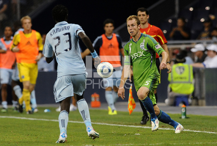 Tyson Wahl (5) defender  Seattle Sounders in action... Sporting Kansas City were defeated 1-2 by Seattle Sounders at LIVESTRONG Sporting Park, Kansas City, Kansas.