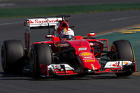 March 15, 2015: Sebastian Vettel (DEU) #5 from the Scuderia Ferrari team rounds turn 2 during the 2015 Australian Formula One Grand Prix at Albert Park, Melbourne, Australia. Photo Sydney Low