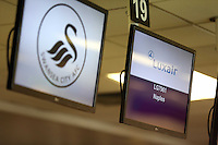Wednesday 26 February 2014<br /> Pictured:  at Cardiff AIrport.<br /> Re: Swansea City FC travel to Italy for their UEFA Europa League game against Napoli.