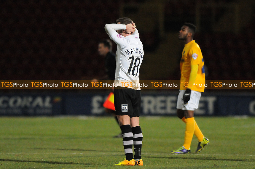 James Marwood of Gateshead FC is left frustrated at the final whislte - Gateshead vs Oxford United - FA Cup 1st Round Replay at the Gateshead International Stadium - 05/12/13 - MANDATORY CREDIT: Steven White/TGSPHOTO - Self billing applies where appropriate - 0845 094 6026 - contact@tgsphoto.co.uk - NO UNPAID USE