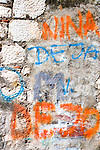 Colorful graffiti on a wall in the Kotor's old city (stari grad), Montenegro
