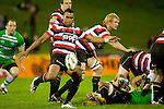 Samisoni Fisilau kicks from the base of a ruck. ITM Cup rugby game between Counties Manukau and Manawatu played at Bayer Growers Stadium on Saturday August 21st 2010..Counties Manukau won 35 - 14 after leading 14 - 7 at halftime.