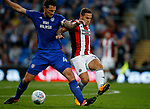 Billy Sharp of Sheffield Utd tussles with Sean Morrison of Cardiff City during the Championship match at the Cardiff City Stadium, Cardiff. Picture date: August 15th 2017. Picture credit should read: Simon Bellis/Sportimage