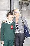 Scoile Aonghusa Confirmation in St Peters Church..Graham White with Sponsor Tracey McGivern..Photo: Fran Caffrey/www.newsfile.ie...