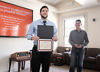 Elijah Plvan-Franke '19<br /> John Chung-En Liu, Assistant Professor, Sociology; Affiliated Faculty, East Asian Studies<br /> Students, faculty and staff gather on Thursday, May 2, 2019 in the JSC Morrison Lounge for the Sociology Senior Comps presentations, awards ceremony, and year-end celebration.<br /> (Photo by Marc Campos, Occidental College Photographer)