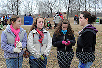 """Young women wait for the """"We Are One"""" concert in celebration of Barack Obama's inauguration as president of the United States at the Lincoln Memorial in Washington DC on January 18, 2009."""