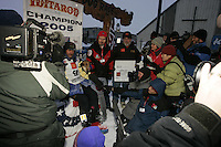 Robert Sorlie at the finish line in Nome.  End of the  2005 Iditarod Trail Sled Dog Race.