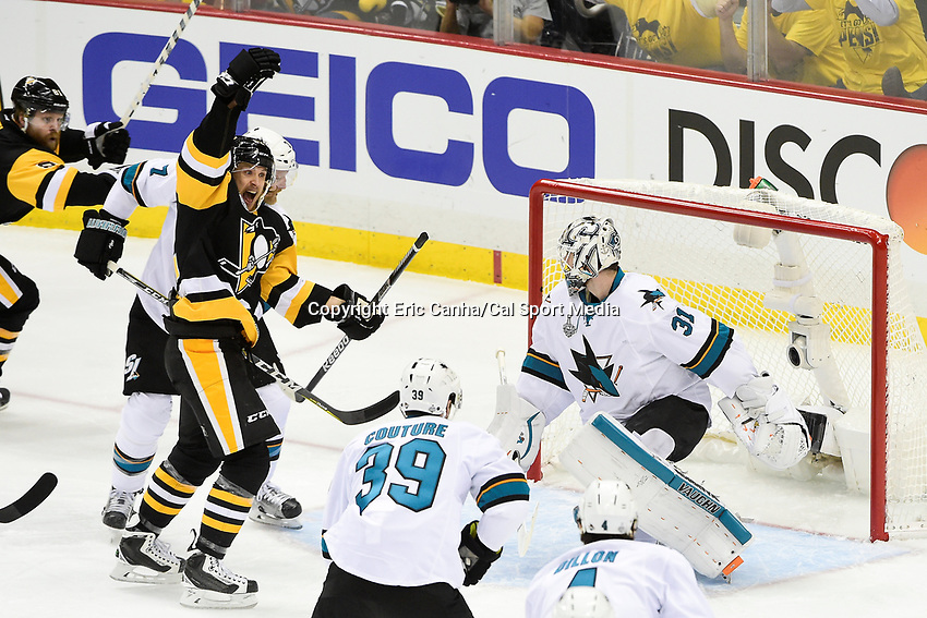 Thursday, June 9, 2016: Pittsburgh Penguins left wing Carl Hagelin (62) reacts to scoring against San Jose Sharks goalie Martin Jones (31) during game 5 of the NHL Stanley Cup Finals  between the San Jose Sharks and the Pittsburgh Penguins held at the CONSOL Energy Center in Pittsburgh Pennsylvania. Eric Canha/CSM