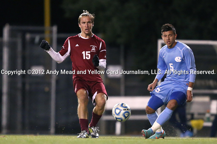 25 November 2012: FDU's Anders Vest-Hansen (DAN) (15) and UNC's Mikey Lopez (5). The University of North Carolina Tar Heels played the Farleigh Dickinson Knights at Fetzer Field in Chapel Hill, North Carolina in a 2012 NCAA Division I Men's Soccer Tournament third round game. UNC won the game 1-0 in overtime.