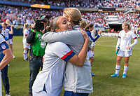 CHICAGO, IL - OCTOBER 6: Jill Ellis of the United States hugs Mallory Pugh #2 during a game between Korea Republic and USWNT at Soldier Field on October 6, 2019 in Chicago, Illinois.