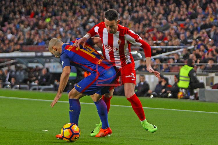 League Santander 2016/2017. Game: 25.<br /> FC Barcelona vs Real Sporting SAD: 6-1.<br /> Javier Mascherano vs Burgui.