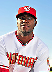 28 February 2010: Washington Nationals center fielder Roger Bernadina poses for his Spring Training photo at Space Coast Stadium in Viera, Florida. Mandatory Credit: Ed Wolfstein Photo