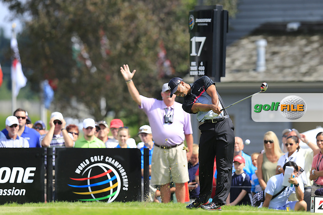 Tiger Woods (USA) tees off the 17th tee during Thursday's Round 1 of the 2013 Bridgestone Invitational WGC tournament held at the Firestone Country Club, Akron, Ohio. 1st August 2013.<br /> Picture: Eoin Clarke www.golffile.ie
