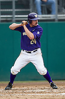 Washington Huskies outfielder Will Sparks (24) at bat during the NCAA baseball game against the Michigan Wolverines on February 16, 2014 at Bobcat Ballpark in San Marcos, Texas. The game went eight innings, before travel curfew ended the contest in a 7-7 tie. (Andrew Woolley/Four Seam Images)