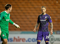 Tranmere Rovers' Peter Clarke has words with his goalkeeper Scott Davies<br /> <br /> Photographer Alex Dodd/CameraSport<br /> <br /> The EFL Sky Bet League One - Blackpool v Tranmere Rovers - Tuesday 10th March 2020 - Bloomfield Road - Blackpool<br /> <br /> World Copyright © 2020 CameraSport. All rights reserved. 43 Linden Ave. Countesthorpe. Leicester. England. LE8 5PG - Tel: +44 (0) 116 277 4147 - admin@camerasport.com - www.camerasport.com
