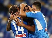 25th July 2020; Stadio San Paolo, Naples, Campania, Italy; Serie A Football, Napoli versus Sassuolo; Allan of Napoli celebrates after scoring in the 90th  minutes for 2-0