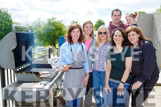 Siobhain O'Shea, Mary Brosnan, Niamh O'Shea, Audrey O'Leary, John and Eabha Buckley and Alice O'Sullivan on the barbecue the Monastry NS pitch and putt fundraiser on Monday