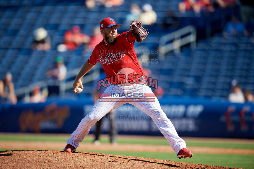 Philadelphia Phillies relief pitcher Josh Martin (68) delivers a pitch during a Grapefruit League Spring Training game against the Baltimore Orioles on February 28, 2019 at Spectrum Field in Clearwater, Florida.  Orioles tied the Phillies 5-5.  (Mike Janes/Four Seam Images)