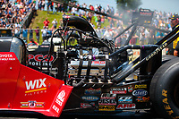 Jun 8, 2019; Topeka, KS, USA; Detailed view of the engine of the dragster of NHRA top fuel driver Doug Kalitta during qualifying for the Heartland Nationals at Heartland Motorsports Park. Mandatory Credit: Mark J. Rebilas-USA TODAY Sports