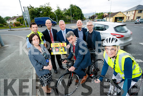 CEO of Kerry County Council Moira Murrell, Garda Aidan O'Mahony, John Breen, KCC, Charlie O'Sullivan, KCC, Mayor of Kerry, Michael O'Shea, Brendan Kennelly, Kerry's Eye, Colin Clacy, Editor Kerry's Eye and Michelle Mullane, Road Safety Officer, Kerry County County Council, pictured at the launch of the Stayin' Alive at 1.5 campaign.